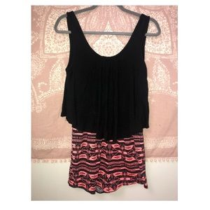 Rue 21- Short romper/Black top/Aztec print shorts